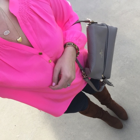 how to layer necklaces, pink elsa top, over the knee boots
