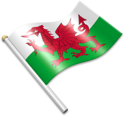 The Welsh flag on a flagpole clipart image