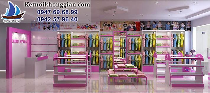 thiết kế shop thời trang trẻ em sinh động