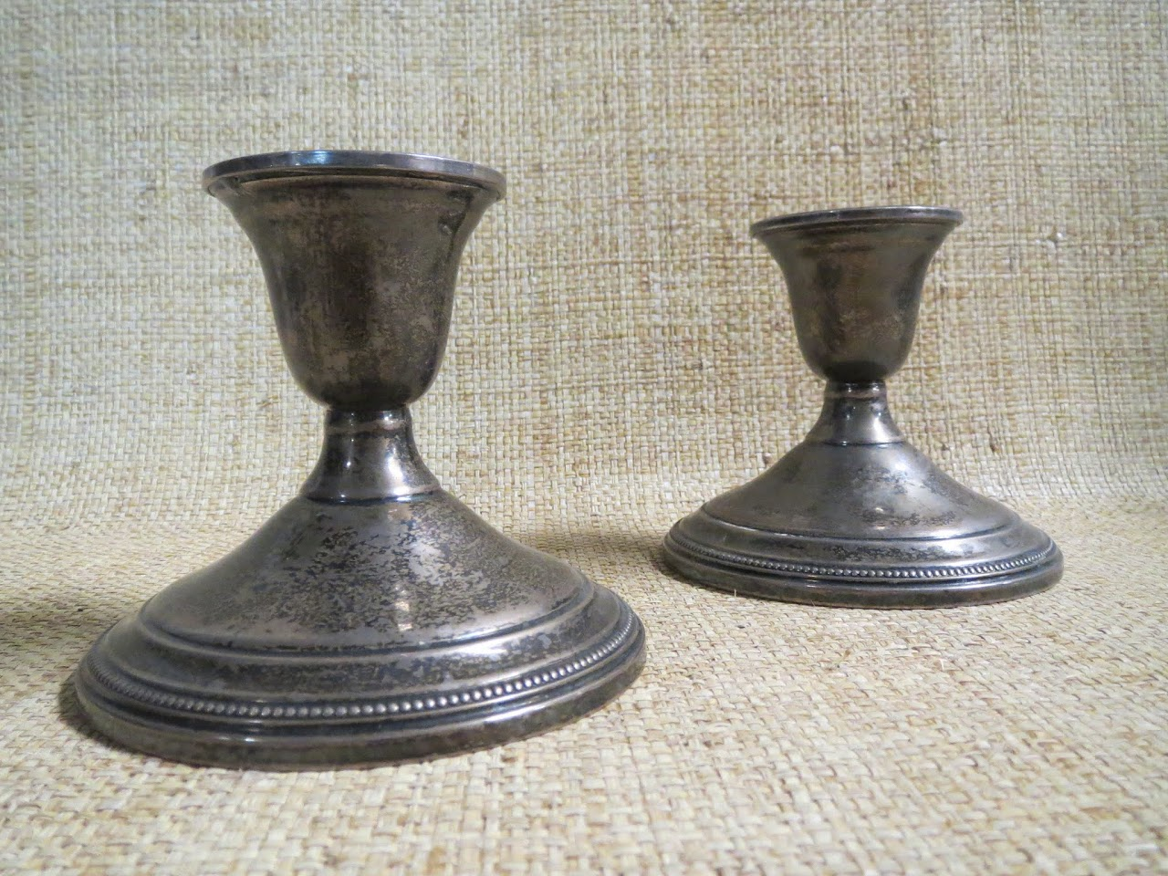 Sterling Silver Candle Stick Pair