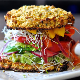 Cauliflower Bread Veggie Sandwich with Avocado Spread