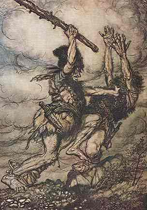 Fafner Kills His Brother Fasholt For The Ring, Asatru Gods And Heroes