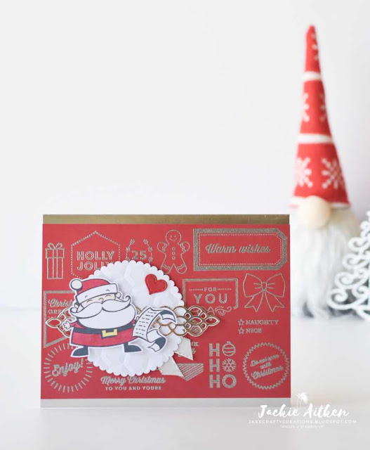 Jaxx Crafty Creations, Stampin' Up!, Tags & Tidings, Christmas Card, Heat Embossing, Petal and More Thinlits, Hexagons Embossing Folder,