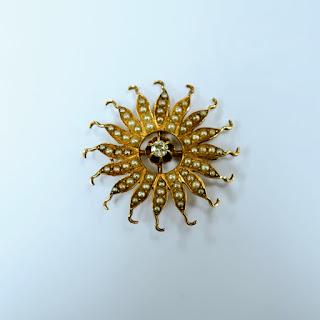 10 K Gold Sun Burst Pendant