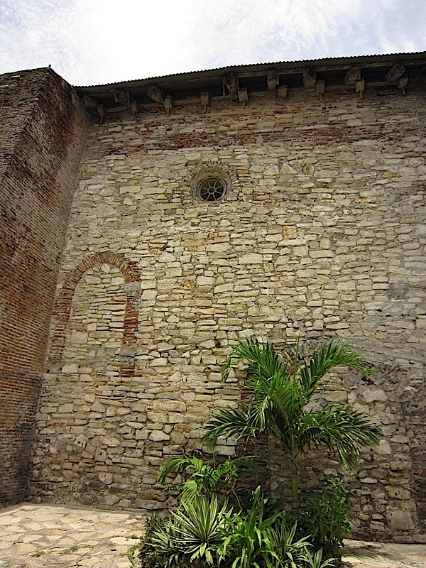 outline of a window and door on one wall of the Church of Nuestra Señora de la Asuncion in Santa Maria, Ilocos Sur