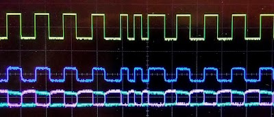 Oscilloscope trace from a working printer.