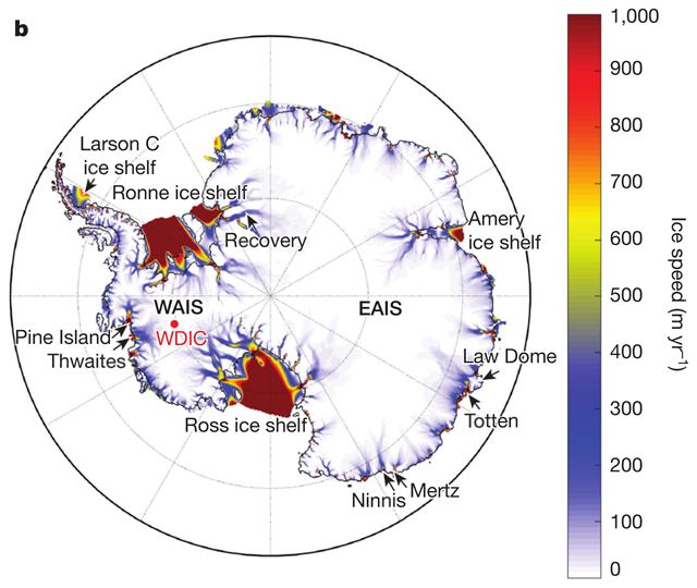 Model surface ice speeds and grounding lines (black lines) show the location of major ice streams, outlet glaciers, and buttressing ice shelves (seaward of grounding lines) relative to the underlying topography in Antarctica. Features and place names mentioned in the text are also shown. AS, Amundsen Sea; BS, Bellingshausen Sea; WDIC, WAIS Divide Ice Core. The locations of the Pine Island, Thwaites, Ninnis, Mertz, Totten, and Recovery glaciers are shown. Model ice speeds (b) are shown after equilibration with a modern atmospheric and ocean climatology. Graphic: DeConto and Pollard, 2016 / Nature