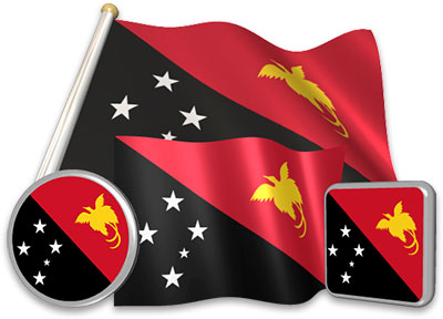 Papua New Guinean flag animated gif collection