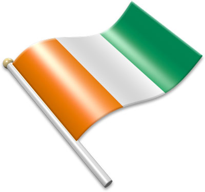 The Ivorian flag on a flagpole clipart image
