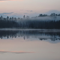 Twilight mist over Bone Lake