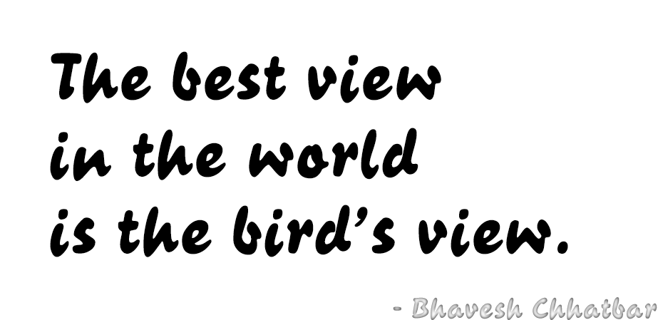 The best view in the world is the bird's view. - Bhavesh Chhatbar