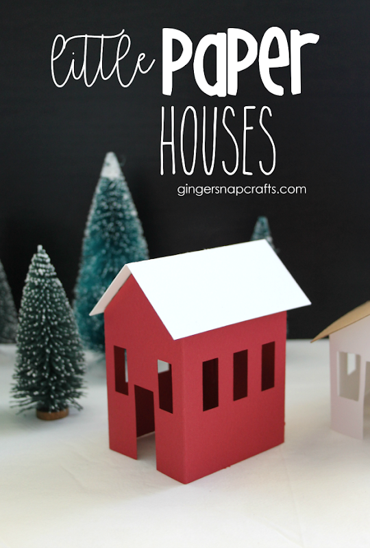 Little Paper Houses at GingerSnapCrafts.com #paper #papercrafts #cricut #cricutmade