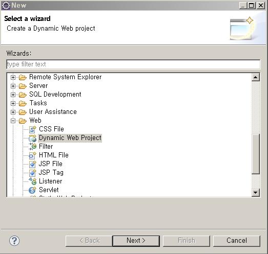 2. Dynamic Web Proejct 를 이용해서 새로운 프로젝트를 생성한다.