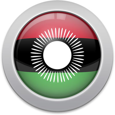 Malawian flag icon with a silver frame