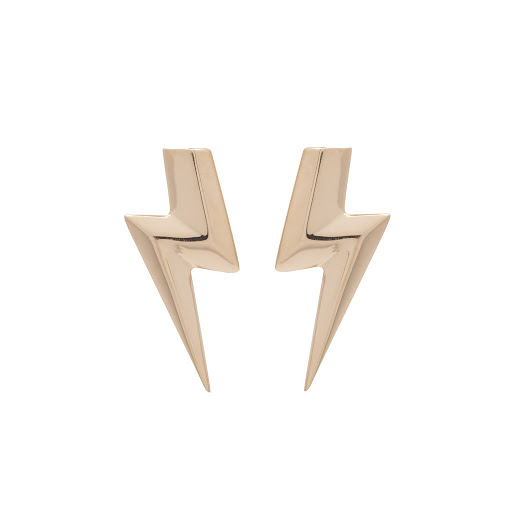 Irish Jewelry, 3D Flat Top Lightning Bolt Earrings in 14ct Gold