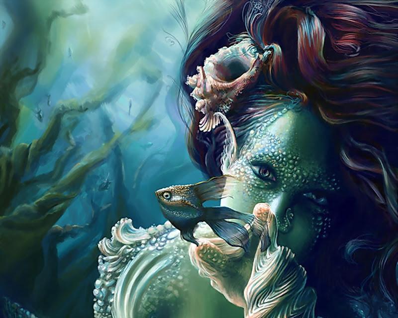 Mysterious Mermaid And Fish, Mermaids