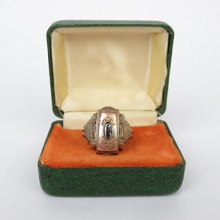 10K Gold Josten Art Deco 1947 High School Ring