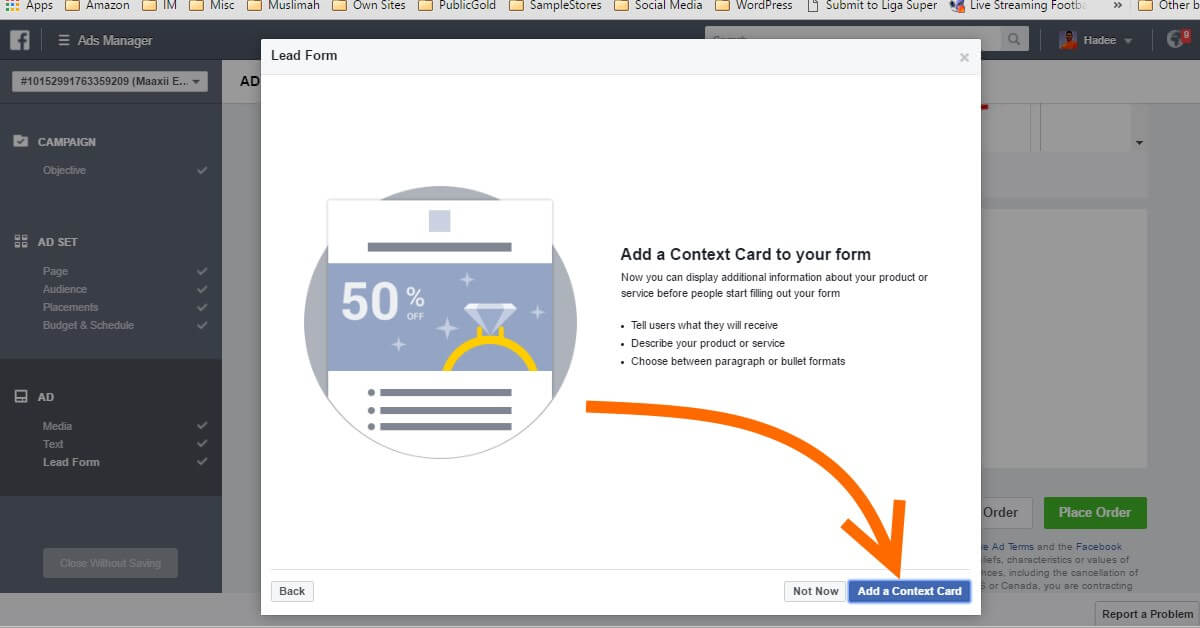 Facebook Ads Ad Lead Form Context Card