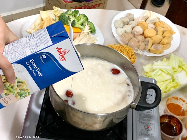 Adding some Anchor Extra Yield Cooking Cream into my boiling pot of pork bone broth really takes the taste up a notch.