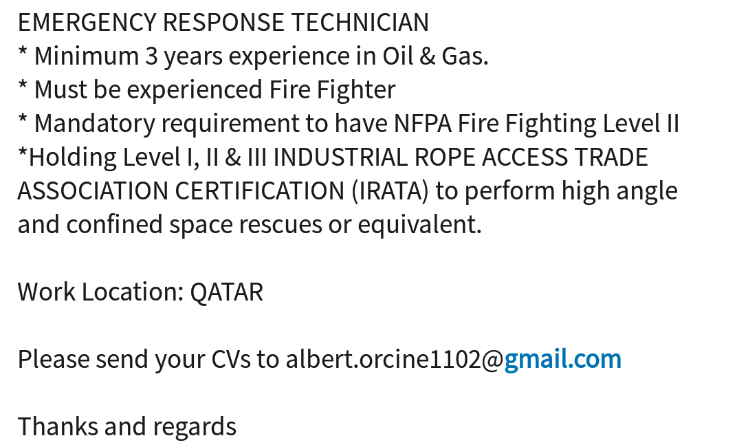 Oil and Gas Jobs: Emergency Response Technician