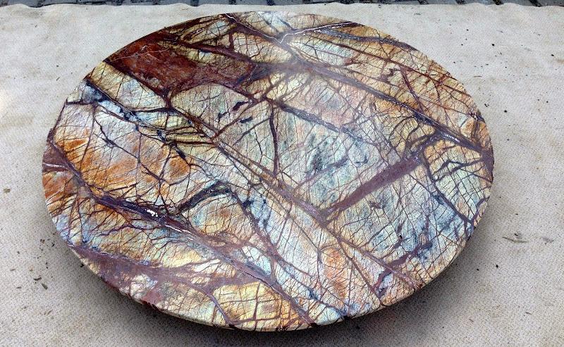 Naturstein tischplatte rund marmorplatte braun beige for Marmor tischplatte rund