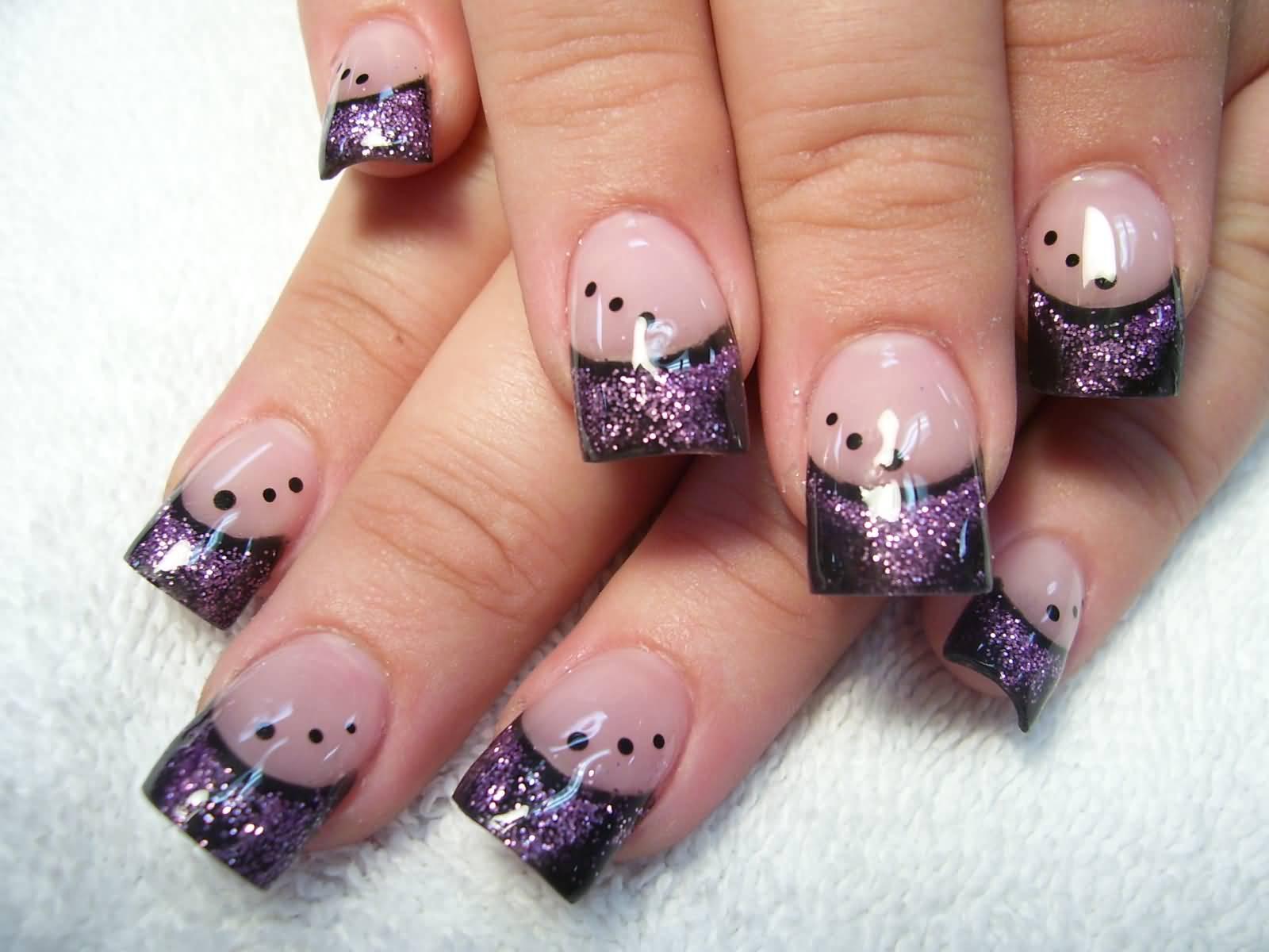 Purple Silver And White Nail Art - NailArts Ideas