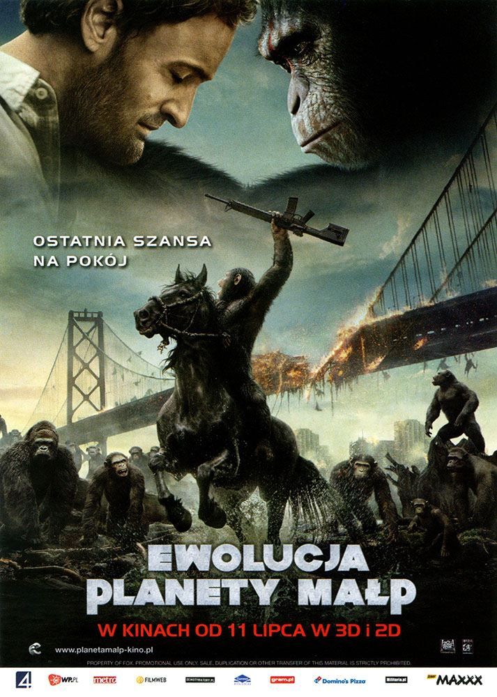 Ulotka filmu 'Ewolucja Planety Małp (przód)'