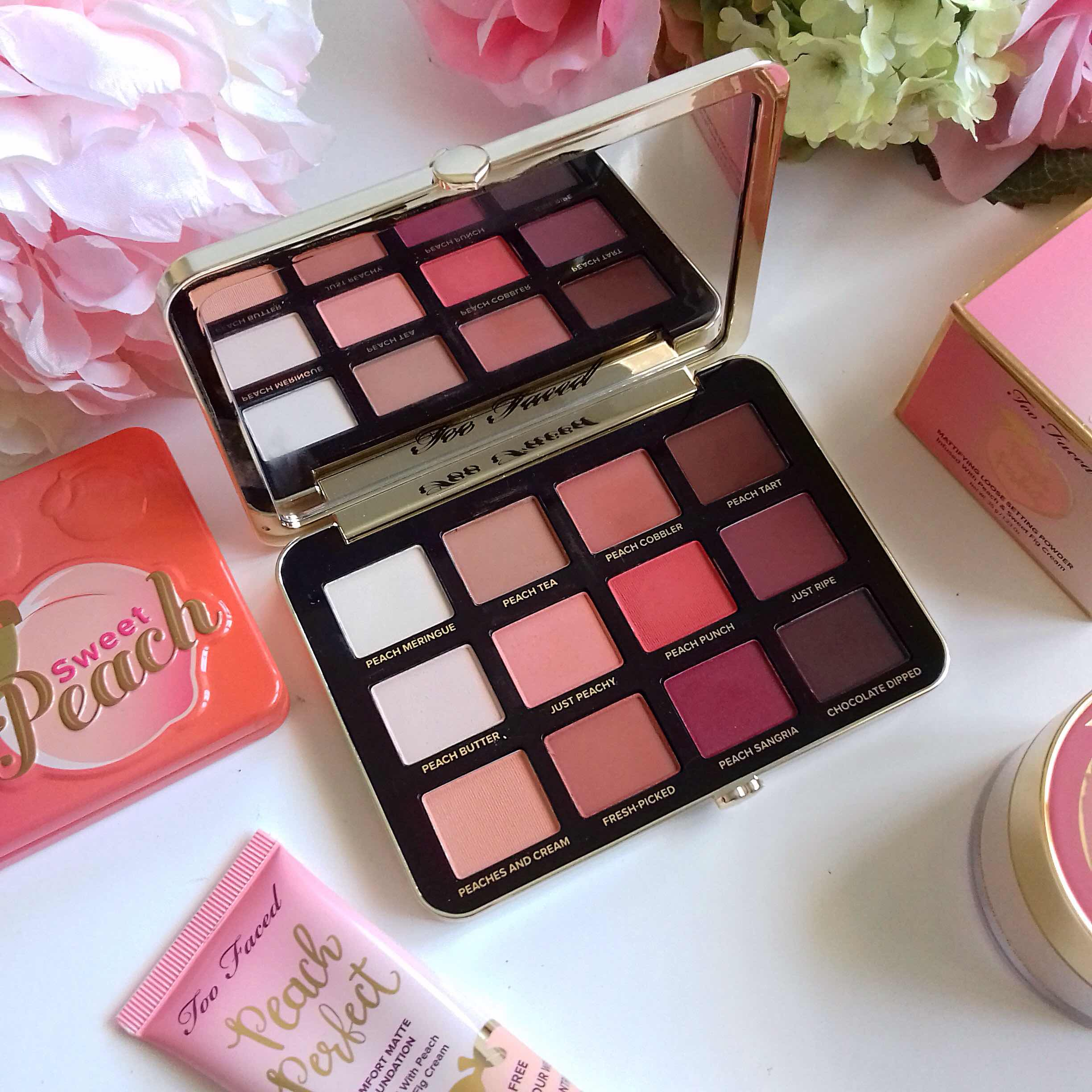review,too faced, just peachy mattes, eyeshadow palette, matte eyeshadow