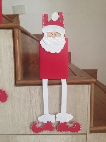 Decoração para a escada de Papai Noel