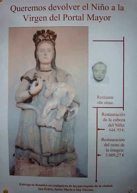 Cartel realizado para sufragar la restauración de la imagen de la Virgen del Portal Mayor