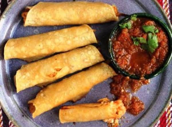 Chicken Flautas With Cotija And Salsa Roja