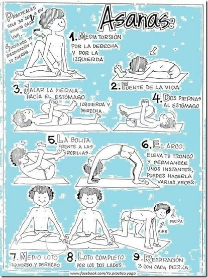 Asanas de Yoga resumidas para niños.