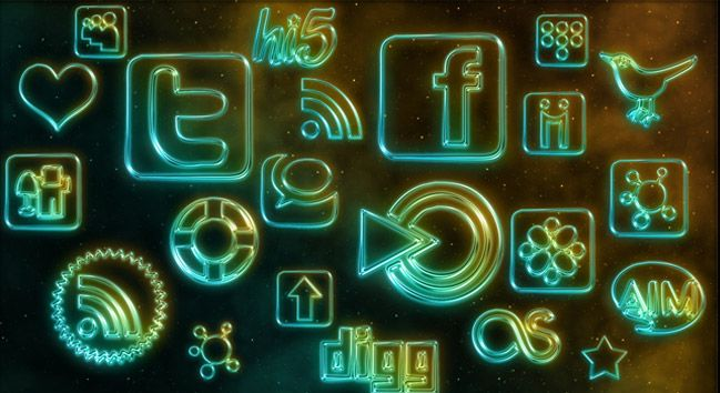 Glowing Neon Social Media