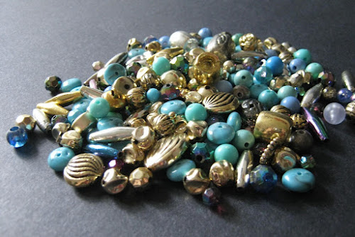 Faux Gold and Turquoise Acrylic Bead Soup
