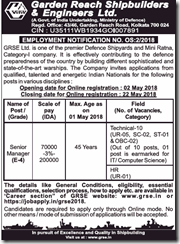 GRSE Employment Notice 02-2018 indgovtjobs