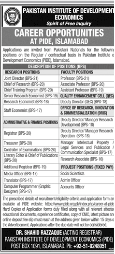 Pakistan Institute of Development Economics PIDE Jobs September 2020