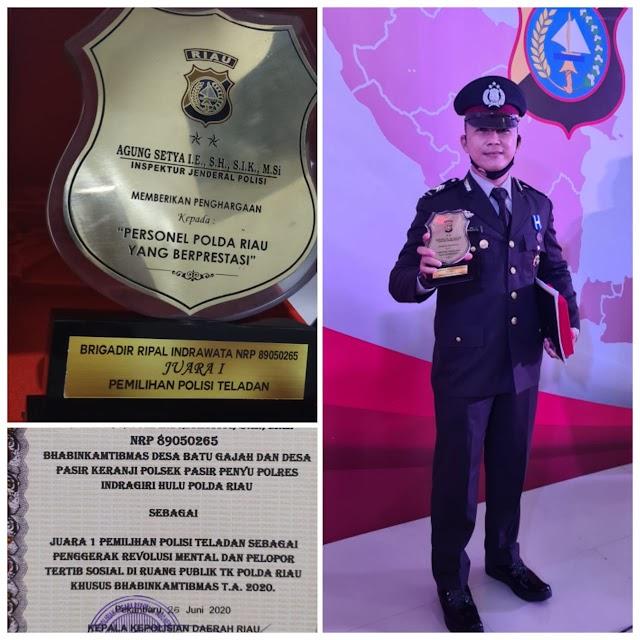 Anggota Polres Inhu Brigadir Ripal Indrawata Raih Juara 1 Polisi Teladan Se-Polda Riau