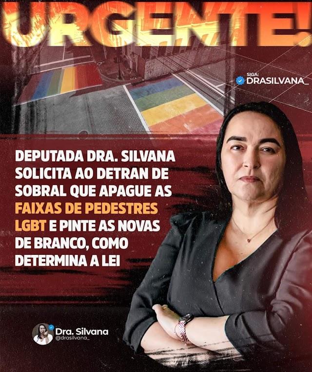 Deputada Silvana solicita ao Detran que apague as faixas de pedestres Lgbt e pinte as novas de branco, como determina a lei.