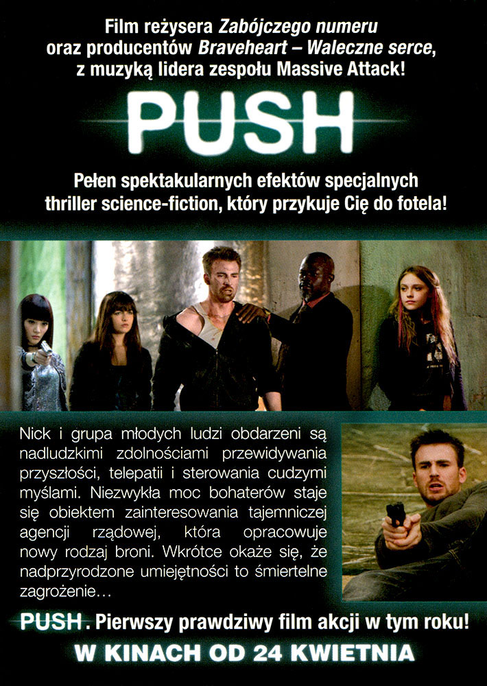 Ulotka filmu 'Push (tył)'