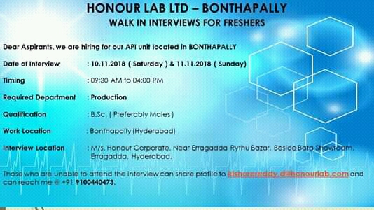 HONOUR LAB LTD Walk In For FRESHERS at 10&11 November