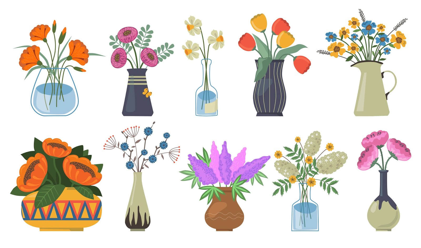 Bouquet Of Flowers Set Free Download Vector CDR, AI, EPS and PNG Formats