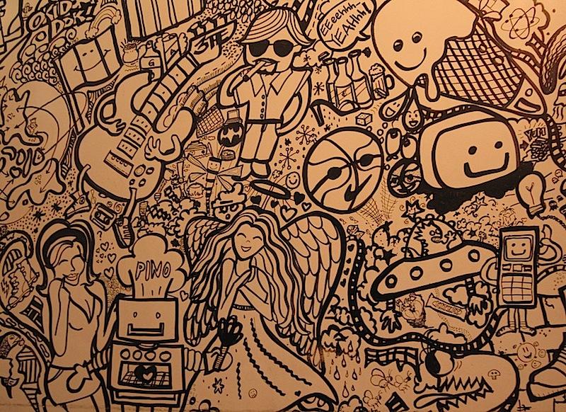 wall of doodles at Pino Resto-Bar