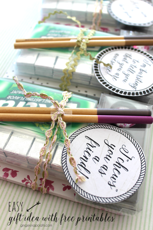 Easy Gift Idea with free printables at GingerSnapCrafts.com