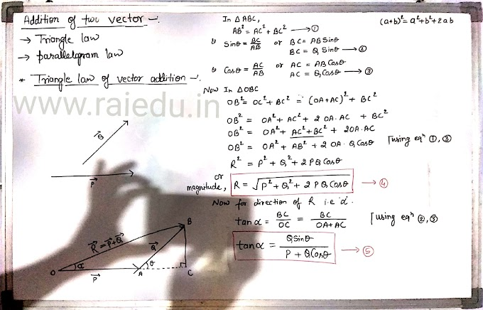 Addition of two vectors by triangle law of vector addition