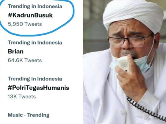 Tagar 'Kadrun Busuk' Menggema di Twitter, HRS 'Diserang' Sejumlah Netizen Usai MA Tolak Kasasi Petamburan