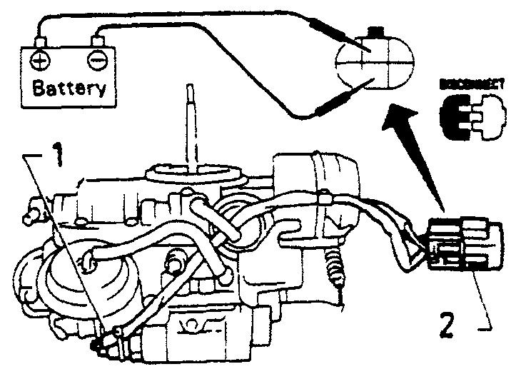 Проверка электромагнитного клапана системы контроля скорости холостого хода, при помощи подачи напряжения на контакты разъема