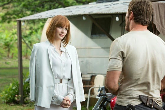 Bryce Dallas Howard is Claire Dearing and Chris Pratt is Owen Grady in Jurassic World