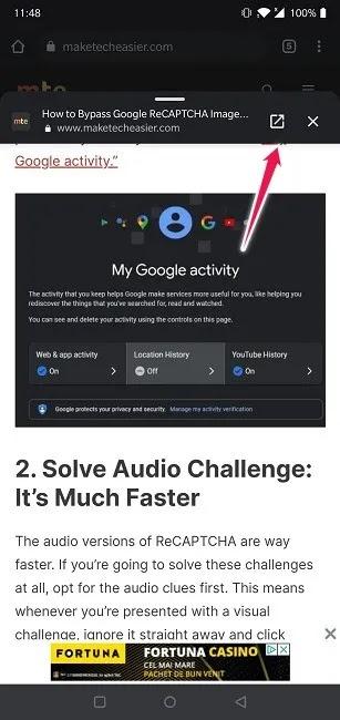 معاينة الروابط Chrome Android افتح الصفحة أو أغلقها