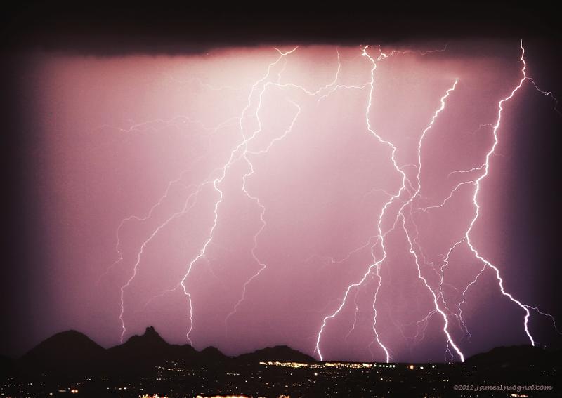 Photo: Lightning Striking North Scottsdale with Pinnacle Peak View - #Photography #Arizona #Lightning #NATURE #InsognaGallery #TheLightningMan   Larger Image: http://www.jamesinsogna.com/Weather/Lightning-Thunderstorm-Weather/14366845_bh2M7r#!i=1157534153&k=Mooqy&lb=1&s=XL