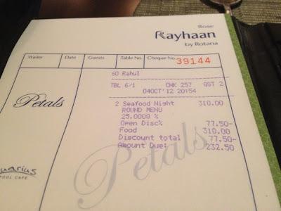 Bill at Petals Restaurant, Rose Rayhaan by Rotana